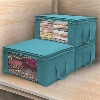 3pcs Non-woven Foldable Storage Box Portable Clothes Organizer  Tidy Pouch Suitcase Home Storage Box Quilt Storage Container Bag