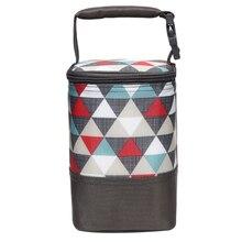 Модная теплая сумка для хранения мам, сумка для детской бутылочки для хранения грудного молока, сохраняющая свежесть, теплоизоляция, съемный принт