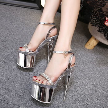 PVC Jelly Sandals Open Toe 18CM Thin High Heels Women Sandals Buckle Strap waterproof platform Party Rhinestones women shoes image