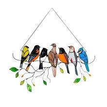 40# Vintage Bird Ornaments Colorful Birds Rainbow Suncatcher Window Ornaments Yard Garden Decor Hanging Décoration De Jardin