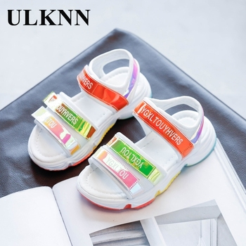 ULKNN Wholesale Girls Rainbow Sandals 2020 Summer New Childrens Glitter Beach Shoes Net Red Boys