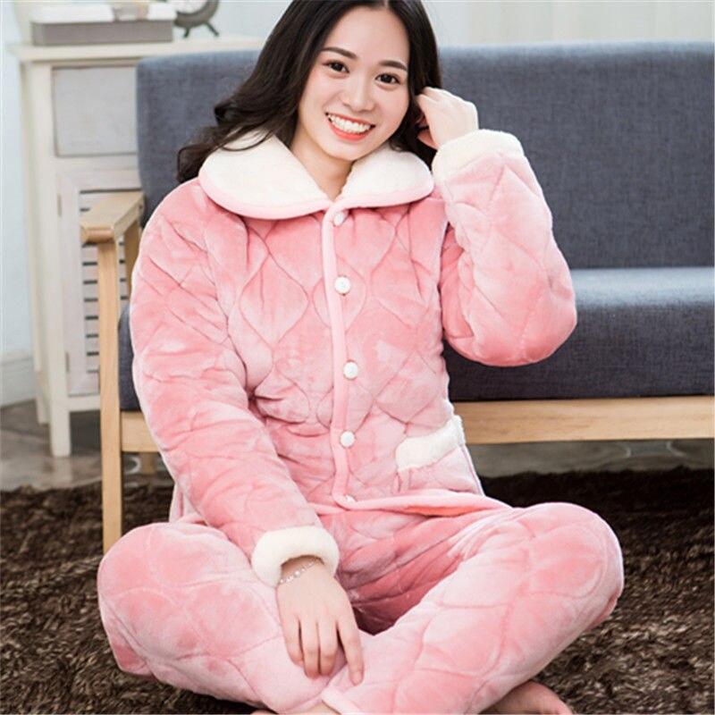 2 Piece/lot Winter Women Pajamas Set Sweet Thick Flannel  Long Homewear Sleep Lounge Velvet Pajama Female Pyjama