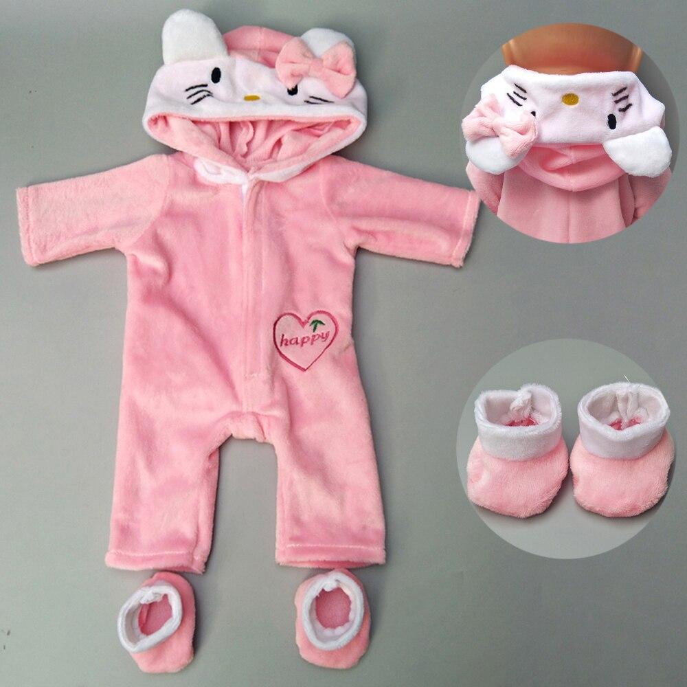 40-43 cm nouveau-né bébé poupée vêtements rose licorne kitty tenue pour 17 pouces bébé bona poupée barboteuses costume pour jouet vêtements
