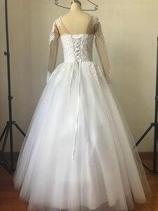 Image 2 - Fansmile 2020 ארוך שרוול Vestido דה Noiva תחרה שמלות חתונה שמלות מחוייט בתוספת גודל כלה טול Mariage FSM 538F