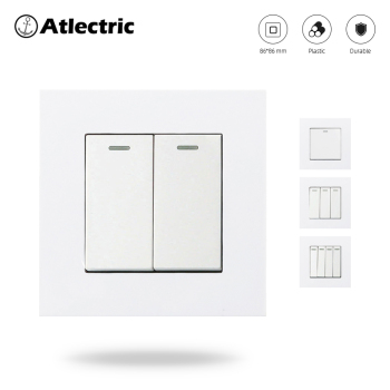 Atlectric Light Button Switch 1 2 3 4 Gang Button Wall Switch ON/OFF Plastic Panel Fluorescent Indicator Lamp Switch [vk]german rafi 8mm square indicator lamp voltage 24v power 0 4w 1 65 120 011 0000 light button switch indicator light
