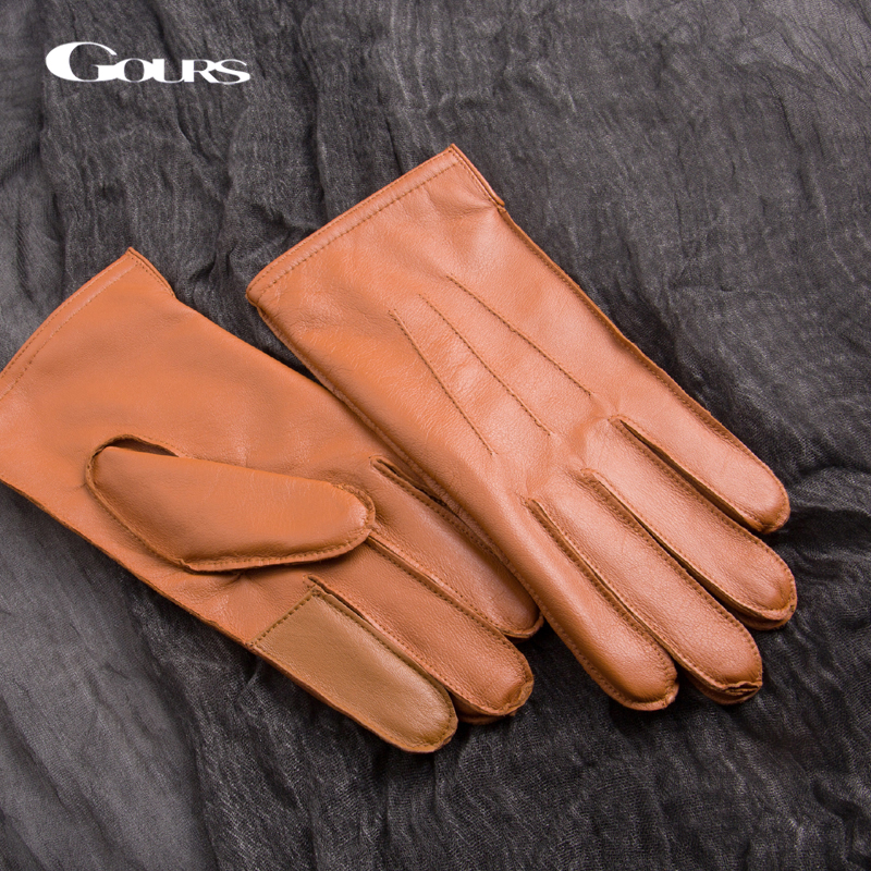 GOURS Genuine Leather Gloves For Men Real Goatskin Touch Screen Gloves Winter Warm Brown Driving Fashion Mittens New GSM026