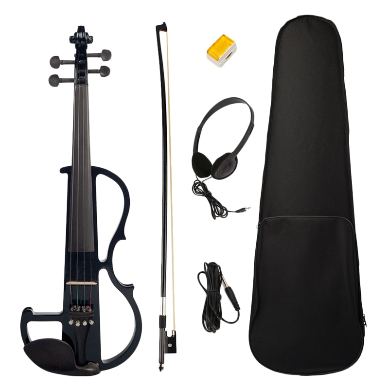 Electric Violin 4/4 Full Size Violin with Case Bow Earphone Rosin Set Black New