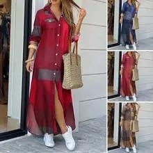 Party Robe Dress Button Maxi Long-Shirt Lapel Split-Print Summer Elegant Women Plaid