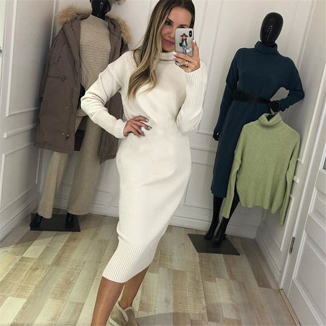 TYHRU Autumn Women's Knit Dresses Fashion Solid Color High Collar Pullover Long Sleeve Knitted Dress 1