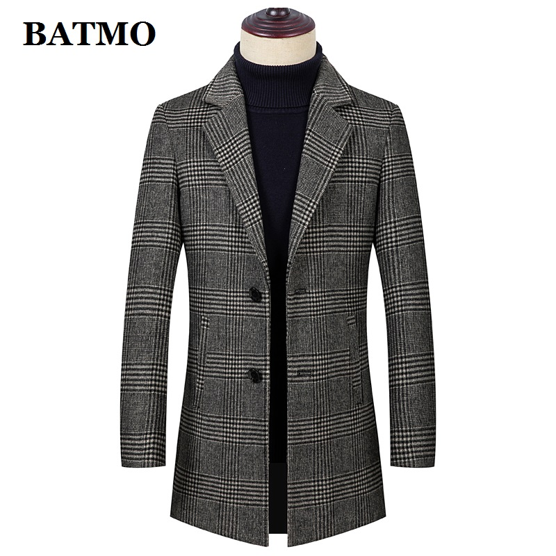 BATMO 2020 new arrival winter&autumn high quality wool plaid trench coat men, wool plaid jackets men 1915