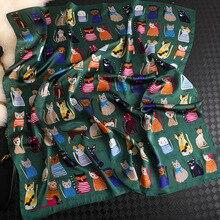 Luxury Brand Women Square Scarf Cat Print Silk Scarves