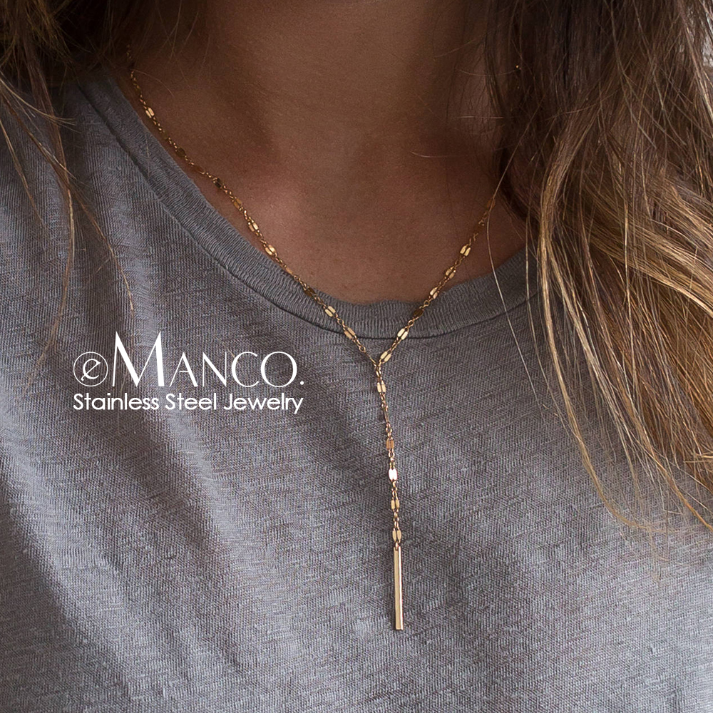 eManco 316L Stainless Steel Necklace Minimalist Gold-color Bamboo chain Choker Necklace for women Fashion Jewelry