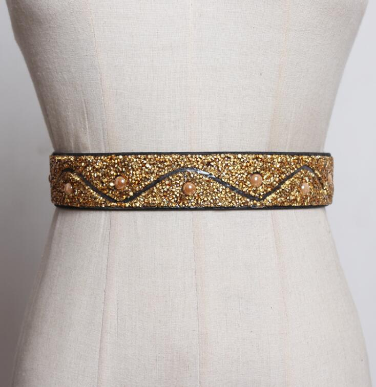 Women's Runway Fashion Diamonds Beaded Elastic Cummerbunds Female Dress Corsets Waistband Belts Decoration Wide Belt R2555