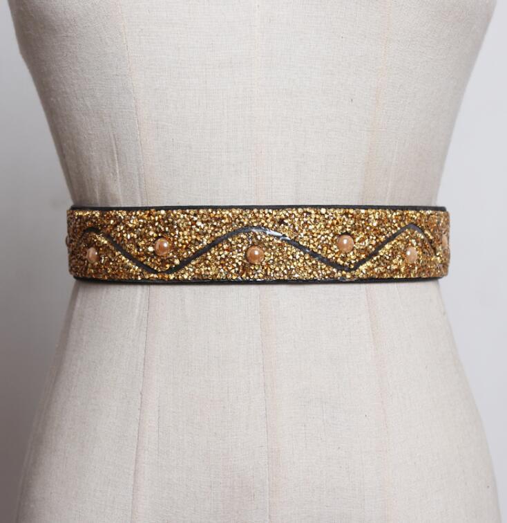 Women's Runway Fashion Diamonds Beaded Elastic Cummerbunds Female Dress Corsets Waistband Belts Decoration Wide Belt R2555