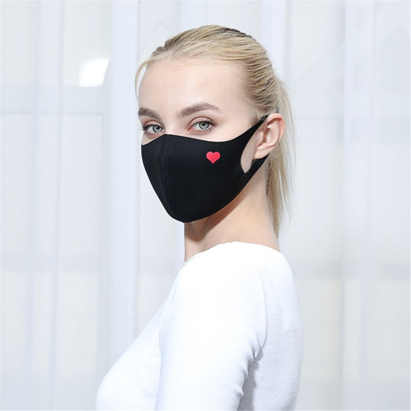 Fashion Cute Heart Face Masks Unisex Cloth Dustproof Half Face Mouth Mask Reusable Warm Windproof Cycling Muffle Respirator