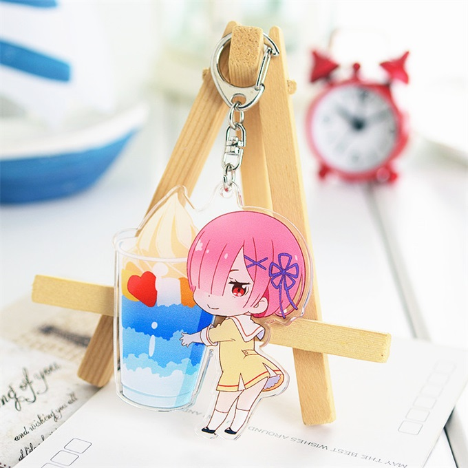 Anime Life In A Different World From Zero Subaru Natsuki Rem Ram Acrylic Keychain Keyring Pendant Bag Phone Pendant Gifts