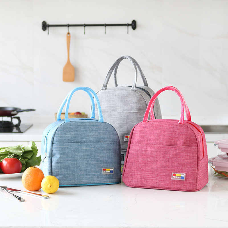 Insulated Lunch Bag Thermal solid Tote Bags Cooler Picnic Food Lunch Box Bag For Kids Women Girls Ladies Men Children Pink