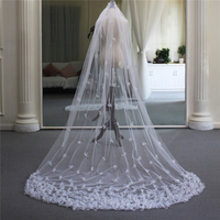 Pretty Handmade Floral Bridal Cathedral Veil with comb White Color Wedding Accessories Long Veils for brides