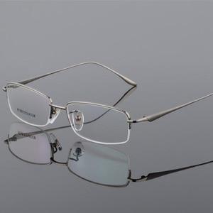 Image 3 - New Semi Rim Pure Titanium Eyeglasses Frame for Men Optical Glasses Frame Prescription Half rim Eyewear Business Spectacles