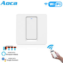 Smart Light Switch Push Button Smart Life/Tuya APP Remote Control Works with Alexa Google Home for Voice Control  light switch cognag 220v voice remote control switch sound control light switch voice activated switch for night light