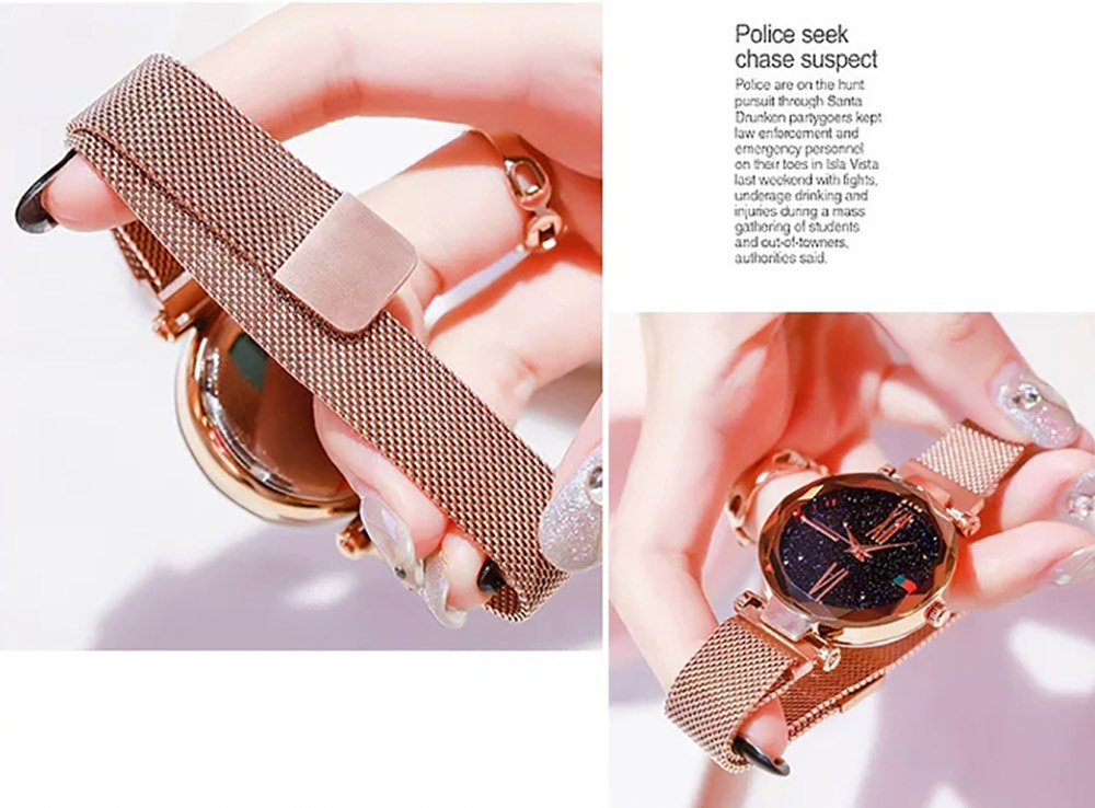 Luxury Minimalism Starry sky Magnet Rose Gold Women Watches 10