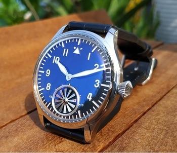 44mm No logo Black dial with  Blue glass Asian 6498  Mechanical  movement    men's watch luminous Mechanical watches GR58-20
