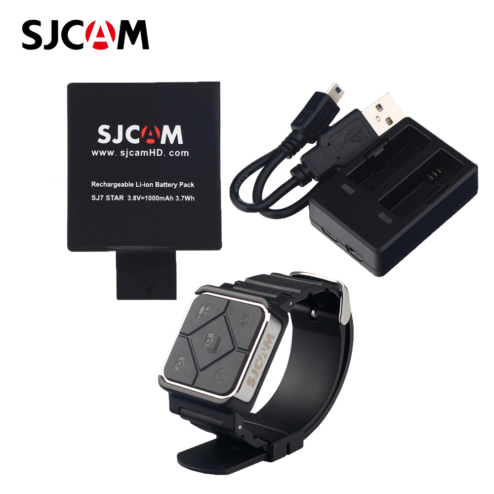 100% Original Sjcam Sj7 Cameras Accessories 1 Battery +Dual Charger+Remote Watch
