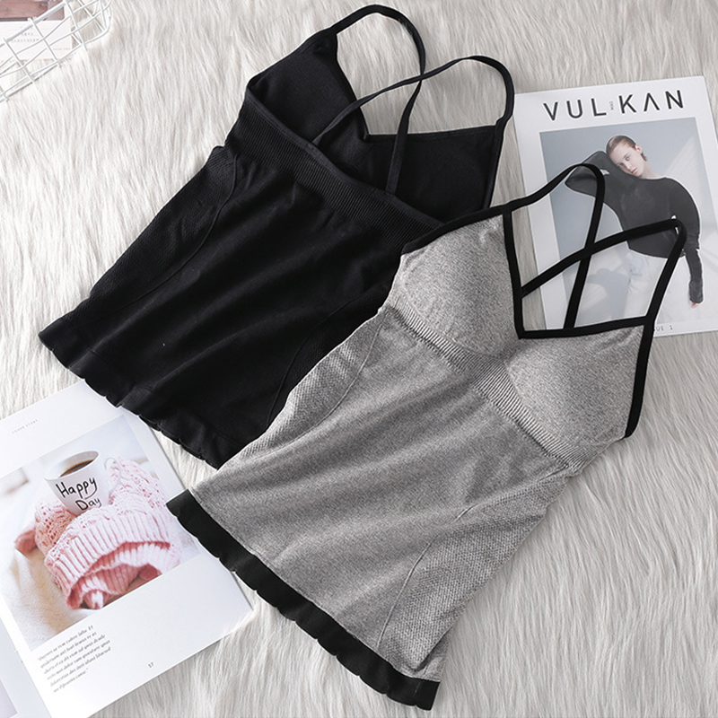 Seamless Sexy Top Cotton Undefined Tube Tops Women Backless Camisoles Lingerie Pad Vest Summer Tank Top Cross Straps Underwear