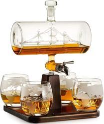 5 шт. в наборе, креативный античный графин в форме лодки, красное вино, виски, стеклянный графин, 1 кронштейн, 1 графин, 4 чашки, комбинированный ...