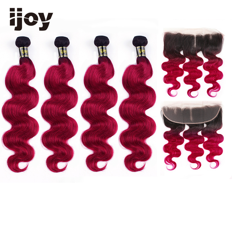 """Ombre Body Wave Human Hair 4 Bundles With Frontal 4x13 Lace #Burgundy Red 8""""-26"""" M Brazilian Hair Weave Bundles Non-Remy IJOY"""