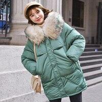 Теплая зимняя женская куртка 2019, модное пуховое хлопковое пальто с капюшоном и меховым воротником, женское корейское однотонное Свободное ...