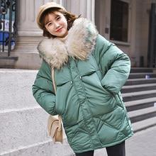 Warm Winter Jacket Women 2019 Fashion Hooded Fur Collar Down Cotton Coat Women Korean Solid Color Loose Large Size Female Coat стоимость