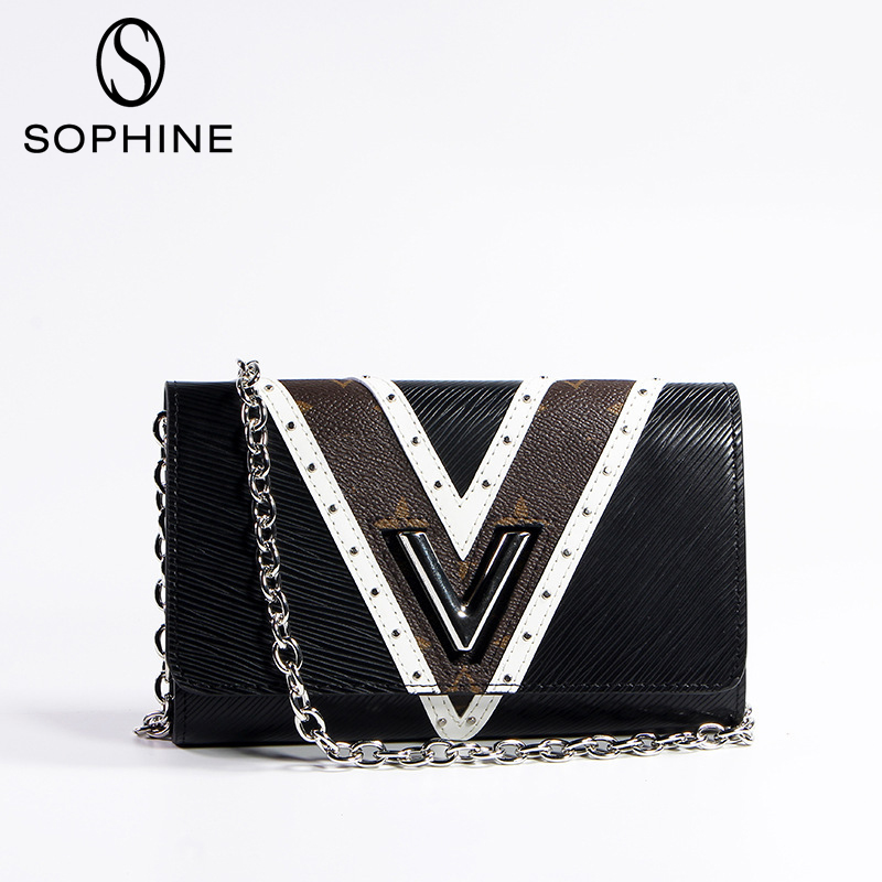 2019 Brand New Famous Luxury Style Louis Handbag Women Messenger Bags Split Leather Fashion Bag V Catch