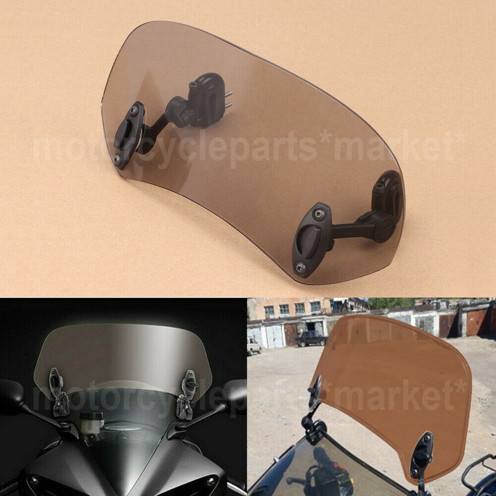 Adjustable Clip On Windshield Extension Spoiler Deflector For Motorcycle Smoke