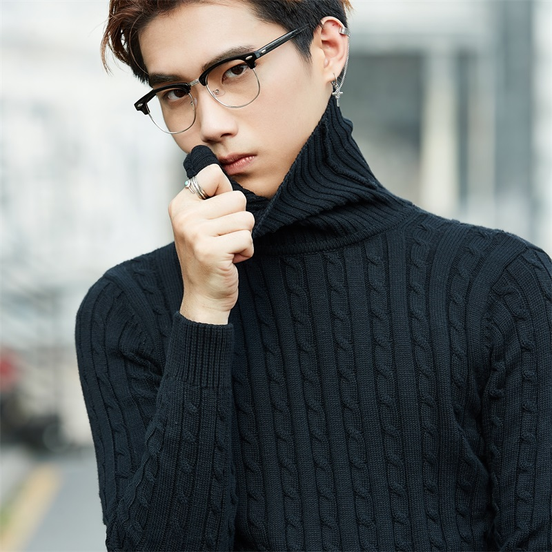 Mens Turtleneck Sweater 2019 New Autumn Winter Solid Casual Sweater Male Slim Fit Cashmere Sweater Man Knitted Twist Pullovers