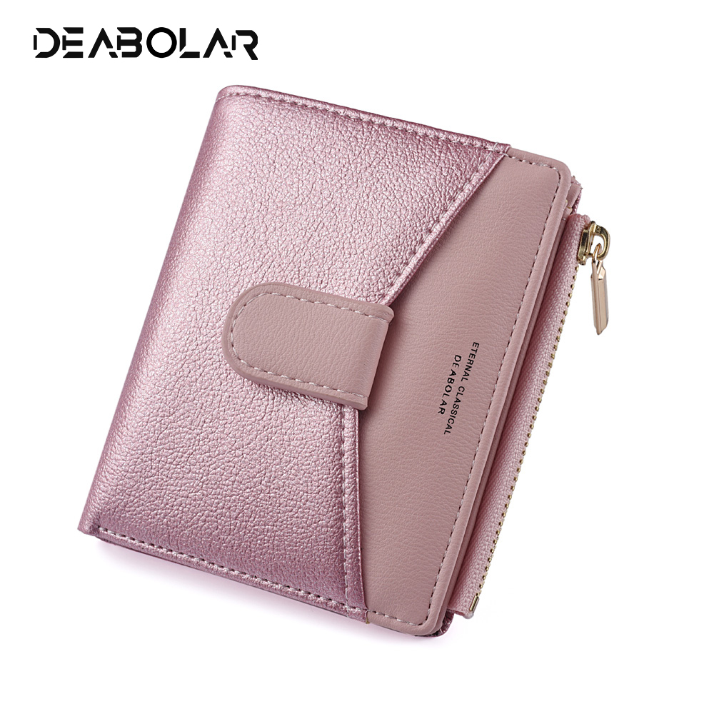 New Ladies Pu Wallet Korean Version Sequins Contrast Color Stitching Zipper Buckle Purse Female Short Card Package