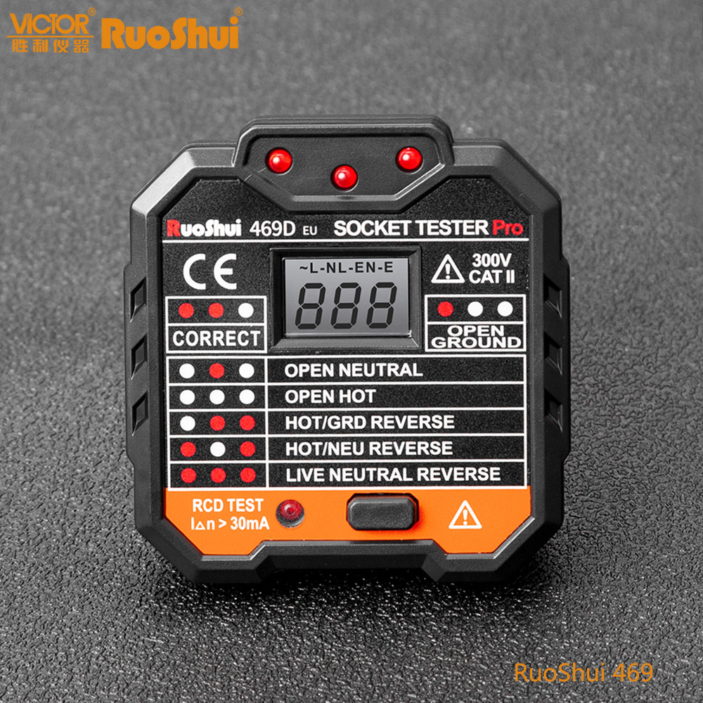 Ruoshui 469 display digital soquete detector de polaridade circuito portátil testador tensão plugue parede disjuntor finder teste rcd