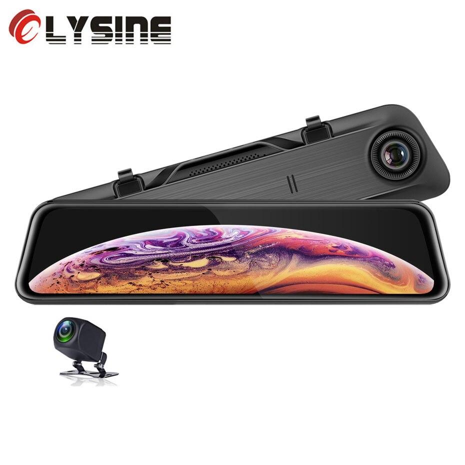 Olysine 2K IMX335 rétroviseur DVR voiture caméra 1440P dasme Cam 12 pouces Vision nocturne double lentille enregistreur vidéo 1080P caméra arrière