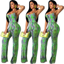 Sexy Lace Up Snake Skin Printed Overalls Jumpsuit Women Sexy Backless Bandage Romper Night Party Streetwear Wide Leg Playsuit(China)