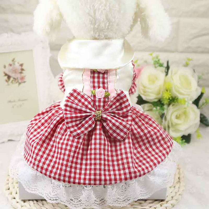 >Dozzlor Dog <font><b>Dress</b></font> Summer cute Princess Pet Cat <font><b>Dress</b></font> Sweet <font><b>Plaid</b></font> Pet Dog <font><b>Skirt</b></font> Clothes For Dogs Chihuahua Pug Pets Dogs Clothing