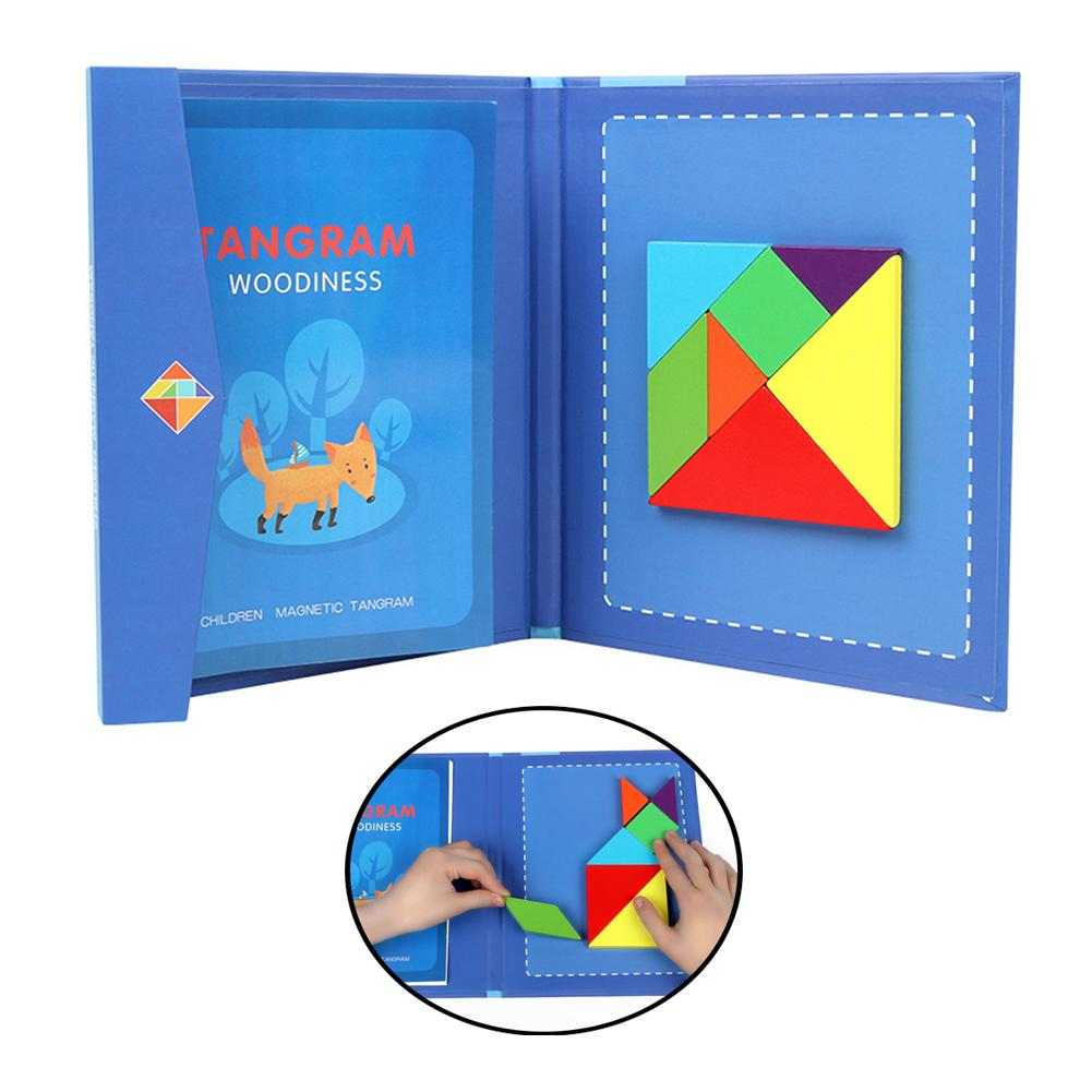 Magnetic Tangram Jigsaw Puzzles Game IQ Book Brain Teaser Education Kids Toy