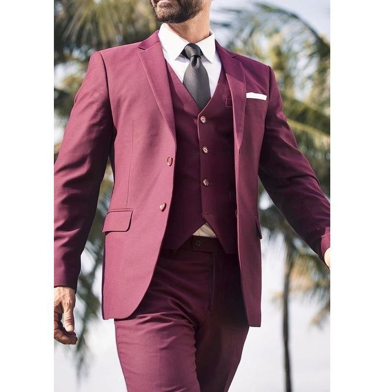 3 Piece Burgundy Men Business Suits Party Prom Blazer Coats Waistcoat Trousers Sets Groom Tuxedos Custom Made NO:218