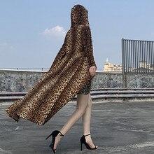 leopard print long sleeve hooded trench coats autumn winter women streetwear win