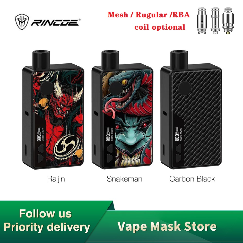 NEW Original Rincoe Manto 80W VW Pod Kit With 3ml Capacity Aluminum Alloy E-cig Vape Kit Power By Single 18650 Battery Vs Drag 2