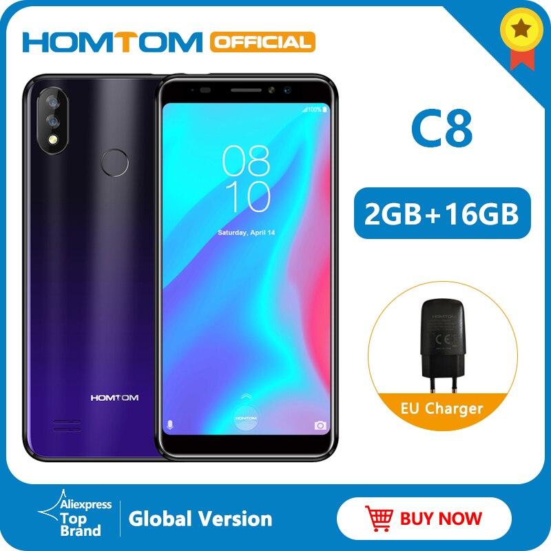 Versão global homtom c8 4g telefone móvel 18:9 exibição completa android 8.1mt6739 quad core 2 gb + 16 smartphone impressão digital + face id