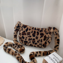 Fashion Leopard Print Shoulder Bag Women Winter Plush Soft Casual Armpit Hobo Bag 2020 Female Fluffy Handbag Ladies Purse Travel