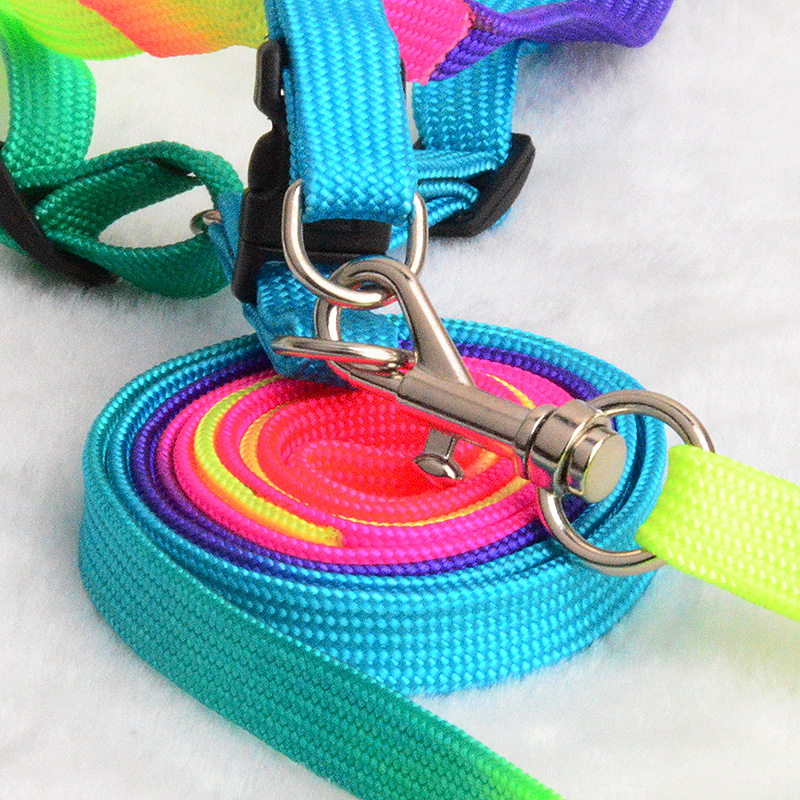 Colorful-Rainbow-Pet-Dog-Collar-Harness-Leash-Soft-Walking-Harness-Lead-Colorful-and-Durable-Traction-Rope (5)
