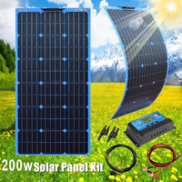 Xinpuguang Flexible Solar Panel 200w 100w Mono 12v 24v battery portable Charger Vans PV Home system for Car RV Boat Roof Camping