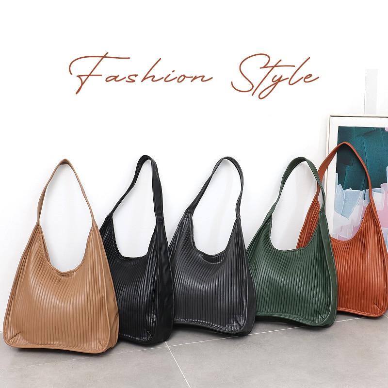 CEZIRA 2020 Fashion PU Leather Shoulder Bag For Women Brand Design Striped Hobo Casual Daily Female Large Vegan Leather Handbags