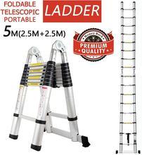 New Foldable Ladders 5m Stable telescopic aluminum ladder Multi Purpose Industrial Herringbone Straight Ladder step HWC